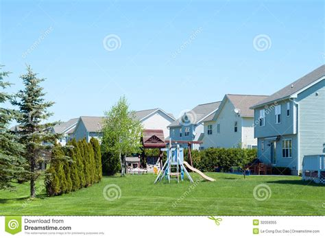 American Backyard by A Typical American Backyard With Child Playground Royalty
