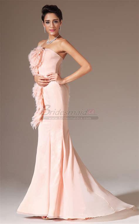 strapless chiffon mermaid pearl pink long bridesmaid dress