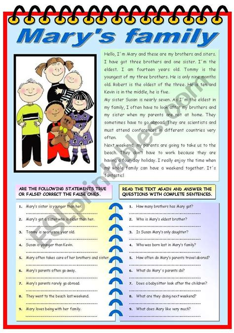 english worksheets mary 180 s family reading comprehension exercises