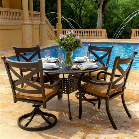 avondale 4 person cast aluminum patio dining set modern