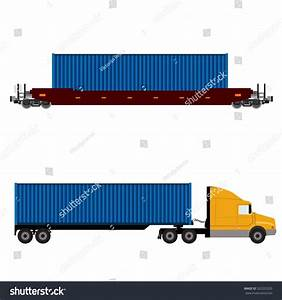 Raster Illustration Truck Container Freight Train Stock ...