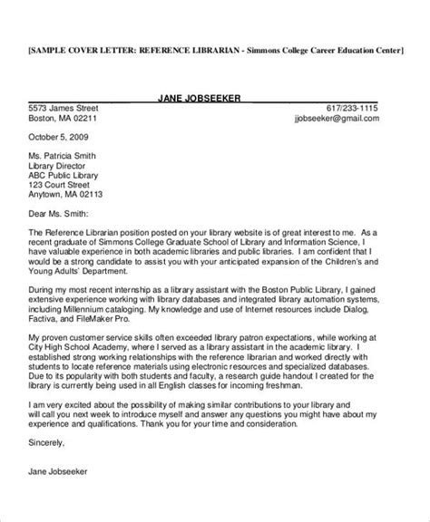 9 librarian cover letters free sle exle format