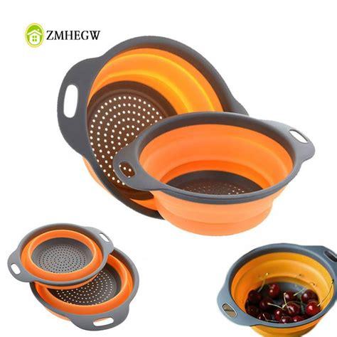 foldable silicone colander fruit vegetable washing basket
