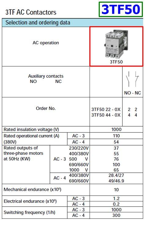 3tf50 datasheet power contactor siemens