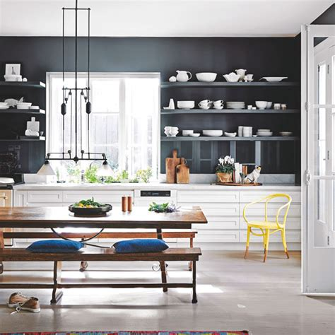 Ideas For Shelves In Kitchen - navy kitchen ideas ideal home