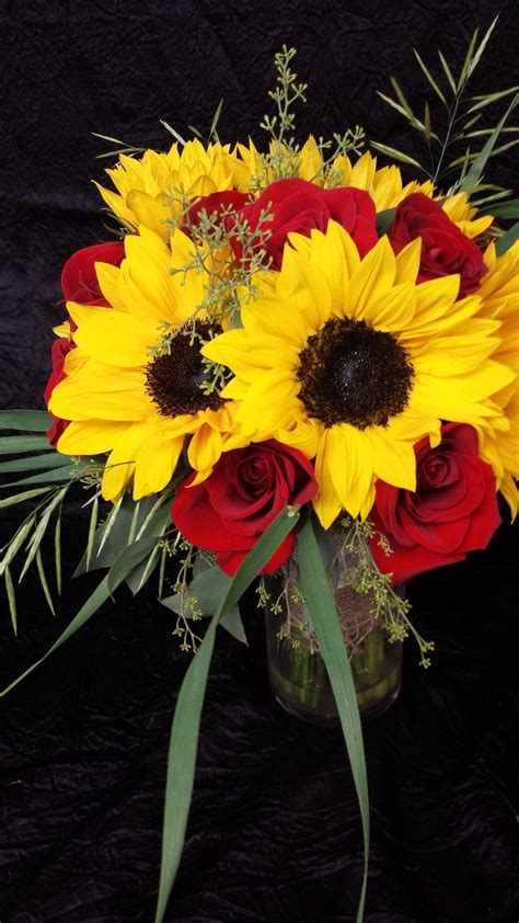 Sunflowers And Red Rose Centerpeice Bouquet In Mason Jars