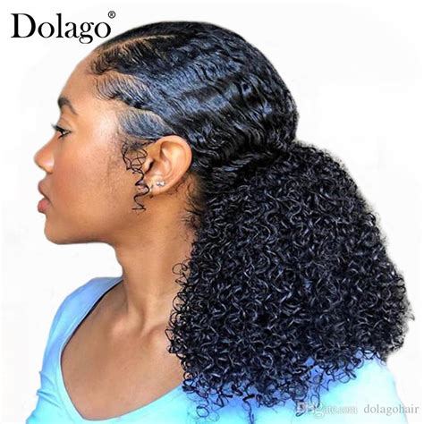 kinky curly ponytails extensions  piece mongolian
