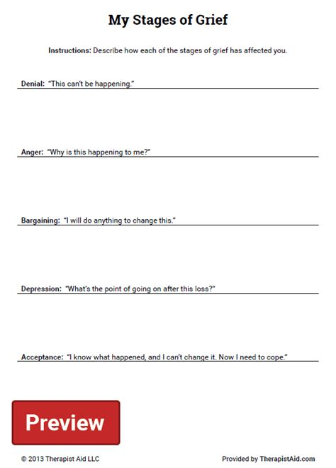 my stages of grief worksheet therapist aid
