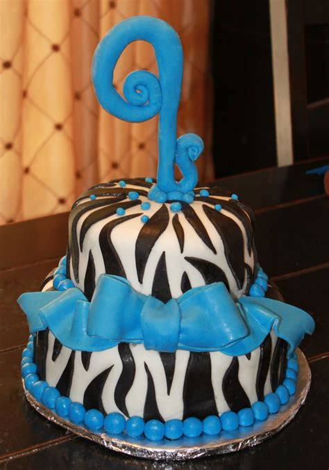 birthday cake zebra  blue accents cakecentralcom