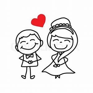 Hand drawing cartoon character happy lovers wedding ...