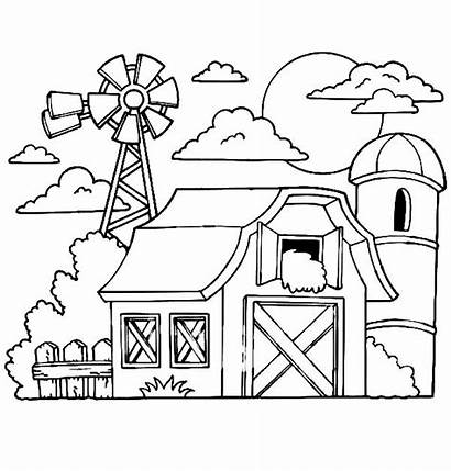Barn Coloring Pages Silo Drawing Windmill Hay