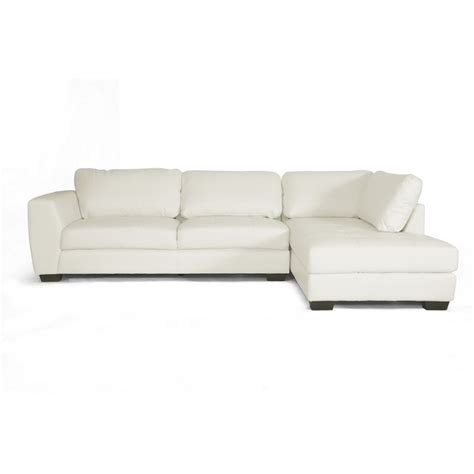 image chaise orland white leather modern sectional sofa set with right