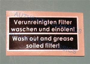 Decal -  U0026quot  Wash Out And Grease Soiled Filter  U0026quot