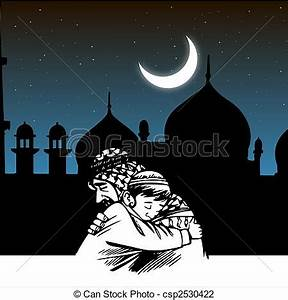 Clip Art of father-son embracing,ramadaan,eid,mosque ...