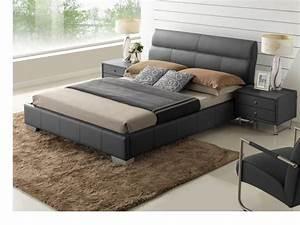 Lit En Cuir : lit wanda 160x200cm cuir de buffle blanc ou noir ~ Teatrodelosmanantiales.com Idées de Décoration