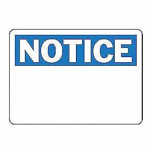 ACCUFORM SIGNS SAFETY SIGN NOTICE BLANK PLASTIC - Notice ...
