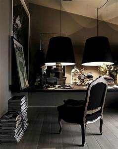 Pinterio home office with black chair and lamps for Best floor lamp for dark office