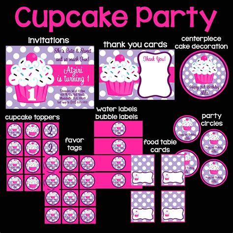 pink  purple cupcake printable party package