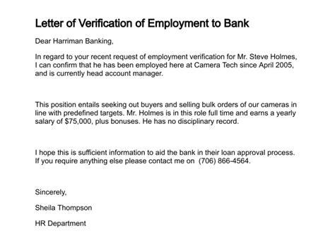 confirmation  employment letter  bank planner