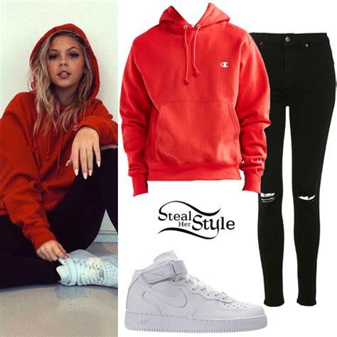 Jordyn Jones Red Hoodie Black Ripped Jeans | Steal Her Style