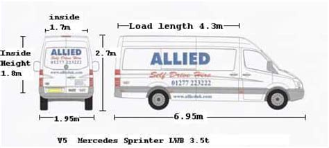 Find all of technical data you need to know including engine specs, van dimensions and weights. V5 Mercedes LWB Sprinter   Allied Vehicle Rentals