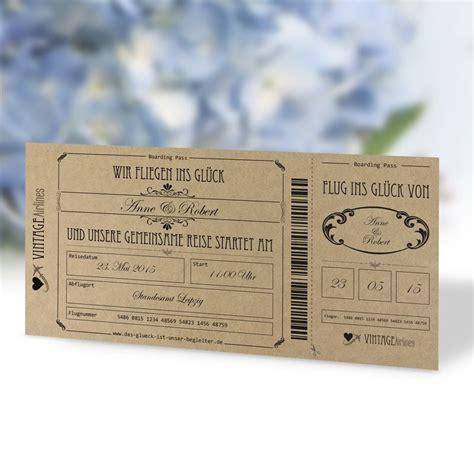 einladungskarte hochzeit vintage boarding pass hochzeit