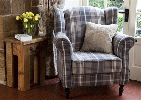 Nathan Wing Armchair In Blue Tartan. Available Now In