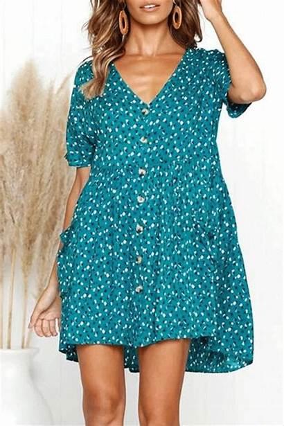 Leopard Short Dresses Casual Button Sleeve Pocket