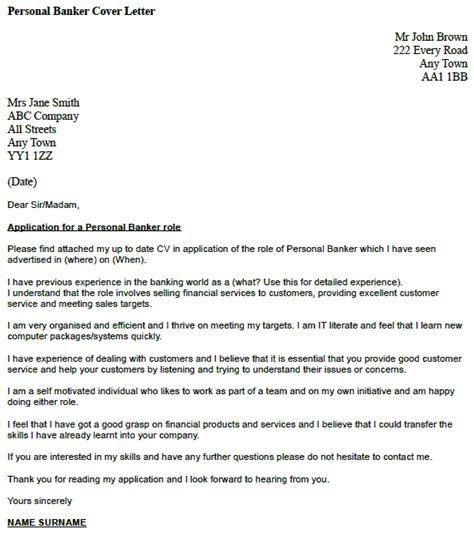 personal banker cover letter  icoverorguk
