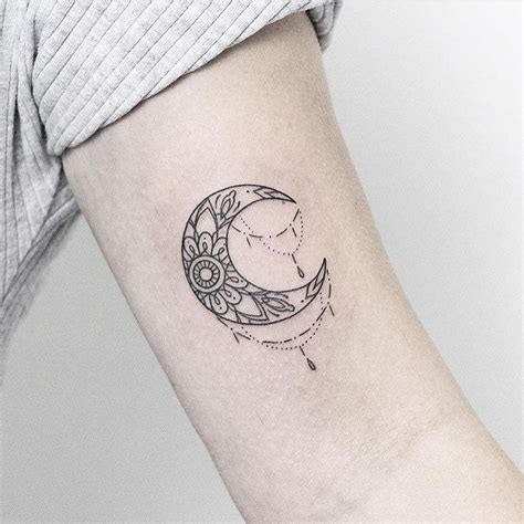 sunflower infused crescent moon tattoos  women moon tattoo designs cresent moon