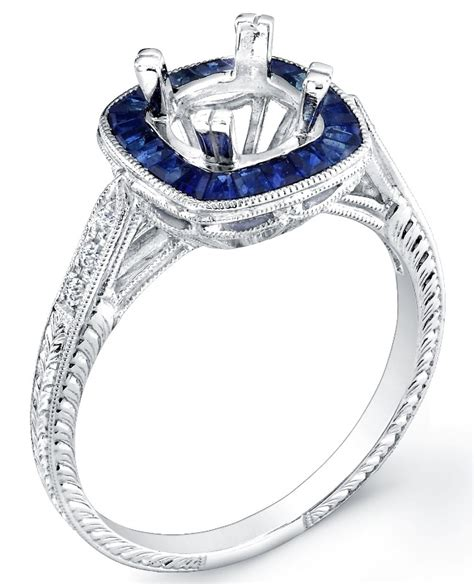 deco style blue sapphire and engagement ring