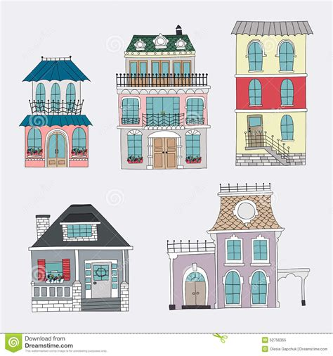 set  hand drawing vintage houses stock vector image