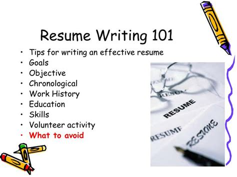 ppt resume writing 101 powerpoint presentation id 6518336
