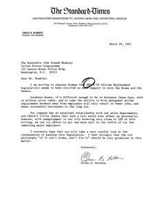 Constituent letter to John Joseph Moakley from the