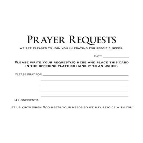 prayer card template prayer request card pkg of 50 www victorychurchproducts