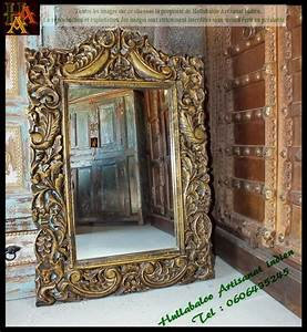 Miroir Cadre Bois : miroir avec cadre en bois dor jn7 la633 meubles indiens d co ~ Teatrodelosmanantiales.com Idées de Décoration