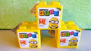2015 Minions 3 Surprise Cube Toys Stickers Candy Unpacking
