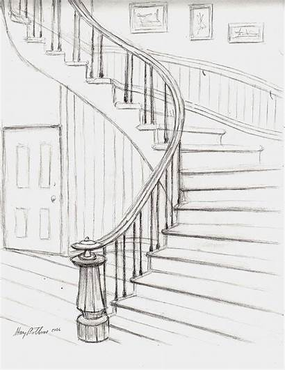 Stairs Drawing Courthouse Sketch Drawings Bottoms Stacy