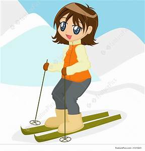 Illustration Of Cartoon Girl Skiing