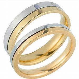Stylish 14k white and yellow gold his and hers matching for Gold and white gold wedding rings