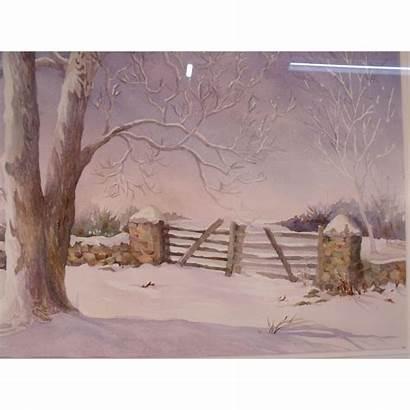 County Bucks Watercolor Painting Pasture Gate Rubylane
