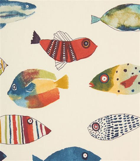 Fish Upholstery Fabric by Fishing Fabric Vintage Just Fabrics