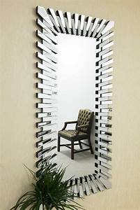 Large Wall Mirror Modern Unique 3D Sunburst All Glass ...