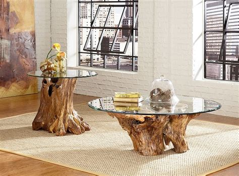 Through round glass coffee tables wood base create living area more warm. Arboles Round Glass Top Root Ball Coffee Table in 2020 | Wood table design, Root table, Tree ...