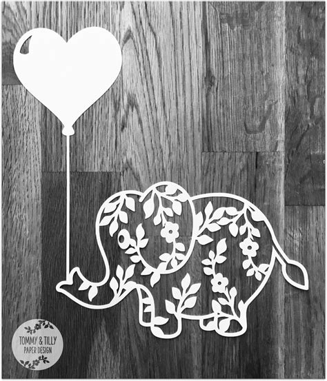 Adobe photoshop, brother scanncut, corel draw, cricut design space, electronic cutting machines, inkscape, make the cut (mtc), silhouette cameo, silhouette designers edition (upgraded from the free software), silhouette studio free basic. Flower Elephant with Heart Balloon SVG PDF Design