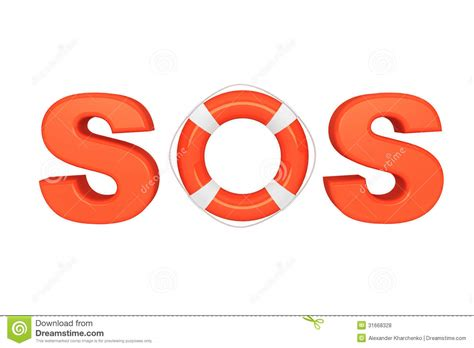 SOS sign with lifebuoy stock illustration. Illustration of ...