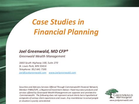 Case Studies In Financial Planning From Certified