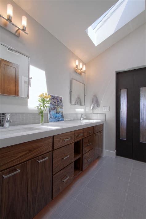 contemporary bathroom  natural wood vanity hgtv