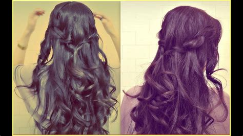 ★easy Prom Half-up Updo |how To Waterfall Rope Braid
