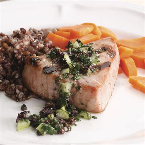 grilled tuna grilled tuna with olive relish recipe eatingwell